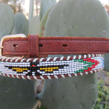 50s Handmade Indian Beaded Southwestern Leather Belt, 68-79 cm / 26-31 in // Vintage Cowgirl Belt