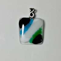 Fused glass pendant necklace; black, blue, white and green glass striped on clear glass with antique silver bail; fused glass jewelry