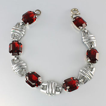 Antique Art Deco Garnet Bracelet jewelry, Open back Red Glass crystal