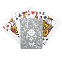 Gray Floral Monogram Pattern Classic Playing Cards