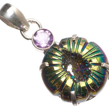 """Natural Titanium Drusy and Amethyst Handmade Mexican 925 Sterling Silver Pendant 1.5"""" U0726"""
