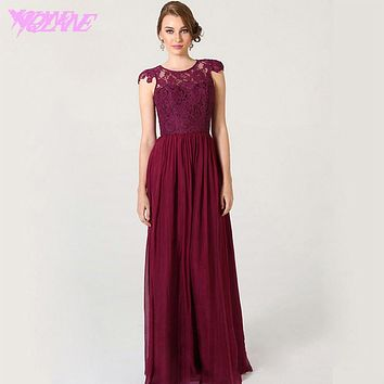 Wine Red Long Lace Bridesmaid Dresses Formal Gown Dress Chiffon Pleated Back Buttons Floor Length Plus Size