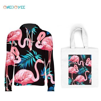 Onedoyee Bird and Floral Print 3D Skateboard Hoodie Sweatshirts Women Hoodies Pullover Hood Plus Size with Free Canvas Tote Bag