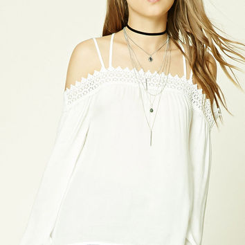 Crochet Trim Open-Shoulder Top