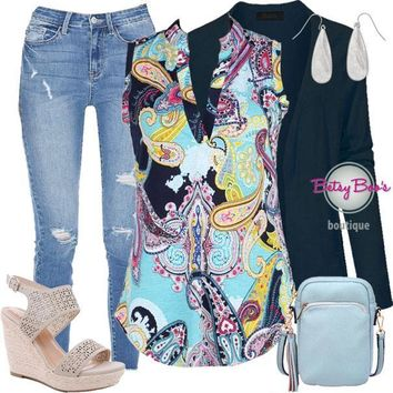 (pre-order) Set 274: Colorful Navy Paisley Sleeveless Top (incl. top, cardy & earrings)