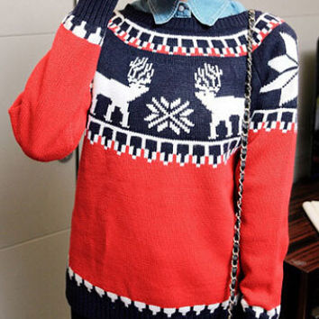 Mulitcolor Christmas Moose Snowflake Printed Sweater