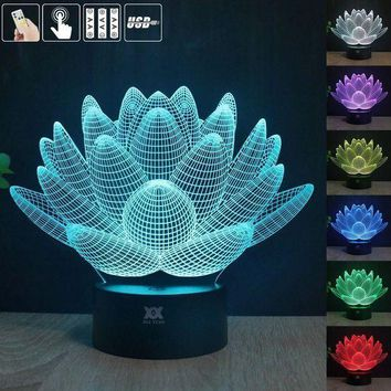 Creative Lotus Flower Changing 3D LED Light 7 Color Decoration Night Light