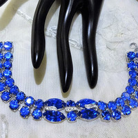 Gorgeous Vintage Eisenberg Ice Vivid Cobalt Blue and Clear Rhinestone Double Row Bracelet