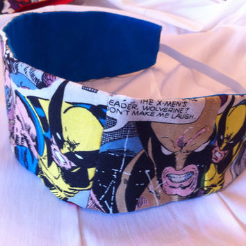 Wolverine Reversible Fabric Headband Marvel by StylishGeek on Etsy