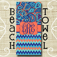 Custom Personalized Monogram Ultra Soft Poly/Cotton Beach Towel Paisley Chevron LP inspired Navy Coral Turquoise
