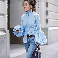 High Stand Collar Pure Color Long Lantern Sleeves Slim Blouse
