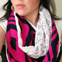 Lace Infinity Scarf, Fuchsia Jersey and Lace with eyelet trim Loop scarf, Spring boho Scarf