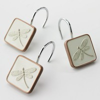 Home Classics Shalimar 12-pk. Dragonfly Shower Curtain Hooks (Beige/Khaki)