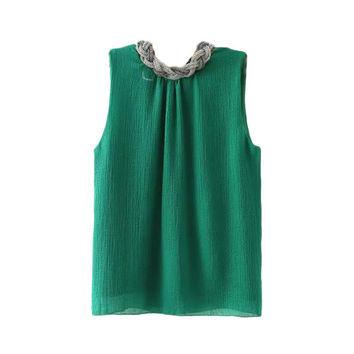 Jewelry New Arrival Shiny Stylish Gift Women's Fashion Decoration Sleeveless Vest T-shirts Tops Necklace [5013350148]
