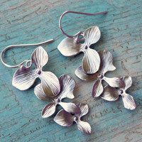 Sterling Silver Orchid Earrings by BelleBlakeDesigns on Etsy