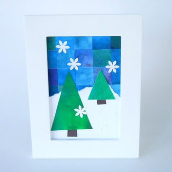 Holiday Mosaic Art - Small Framed Winter Decor - Handmade Paper - Blue, Green, and White - Original Paper Art - Snow Theme