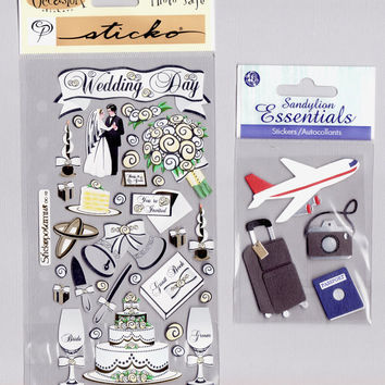Wedding Honeymoon Stickers Destash, Travel scrapbook stickers, Sandylion, Stickopotamus, New in package