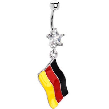 Germany Flag Dangle Belly Ring | Body Candy Body Jewelry