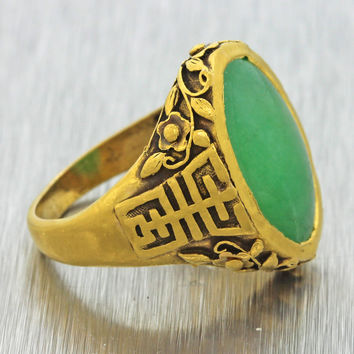 1920s Antique Art Deco 22k Yellow Gold Jade Jadeite Chinese Export Floral Ring