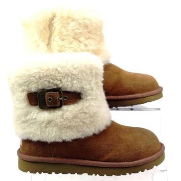 KIDS GENUINE UGG ELLE TAN SUEDE CASUAL SHEEPSKIN LINED ANKLE BOOTS SIZE 12 FADED