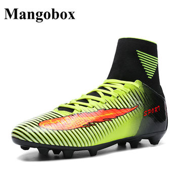 Men Football Shoes With Socks 2016 High Top Soccer Cleats Leather Mens Turf Shoes Football Green Football Cleats For Men