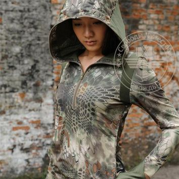 Hiking Shirt Combat Military Army Airsoft Outdoor Camouflage Kryptek Typhon Camo Women Hoodie,hunting Quick Dry Girl ,tactical Girl Hoodie KO_15_1