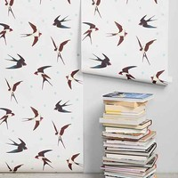 Walls Need Love Barn Swallows Removable Wallpaper- Cream One