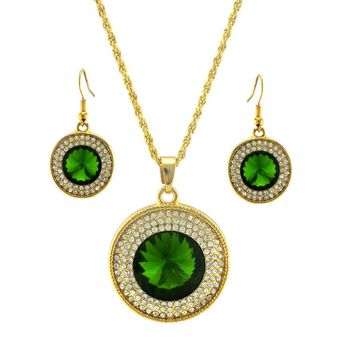 Crystal Rhinestone Pendant Necklace Earring Jewelry Set