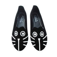 Kitty Cat Face Animal Themed Embroidered Ballet Flats for Women in Black