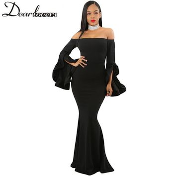 Dear lover elegant Maxi Dress Off Shoulder Party Dress Pleated Bell Sleeves Mermaid Red Long dresses 2018 Robe De Soiree LC61981