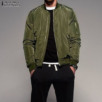 Men's Long Sleeve Zip-up Bomber Jacket