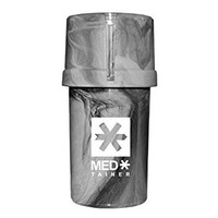 MedTainer Storage Container w/ Built-In Grinder - Marble Grey (White Logo)