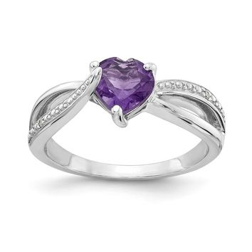 Sterling Silver 7mm Heart Amethyst Genuine Diamond Accented Infinity Inspired Ring