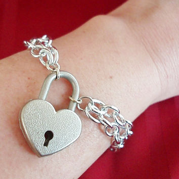 Silver Double Chain Heart Padlock submissive locking slave bracelet anklet cuff
