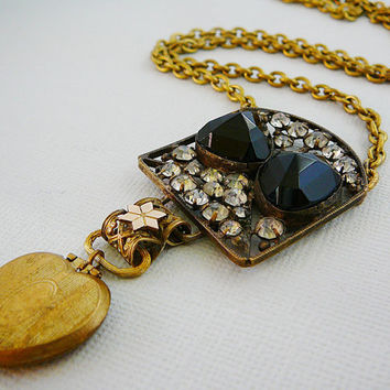 Victorian Pendant Necklace - Brass Chain Black Clear Rhinestone Heart Locket Owl