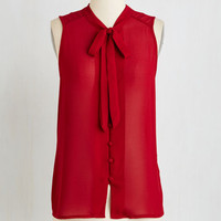 Mid-length Sleeveless Zephyr than Ever Top in Burgundy by ModCloth