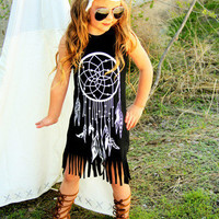 Girls Boho Dress, Girls Dresses, Fringe Dress, Dreamcatcher Dress, Dreamcatcher Outfit, Summer Dress Size 6 month, 2T 3T 4T 5T 6 7 8 9