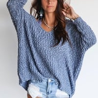 For Myself Misty Blue Yarn V Neck Sweater