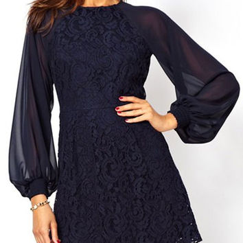 Blue Lace Panel Cut Out Long Sleeve Dress