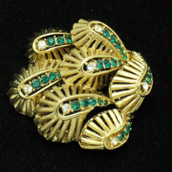 MARCEL BOUCHER Rhinestone Dimensional Faux Emerald Gold Plated Brooch or Pin