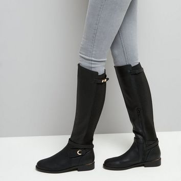 Black Ankle Strap Knee High Boots | New Look