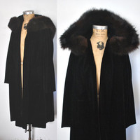 Black Velvet Opera Coat / Fox Fur hood Jacket / 1950s cloak / wedding party