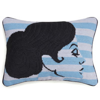 Jonathan Adler big hair chignon needlepoint pillow