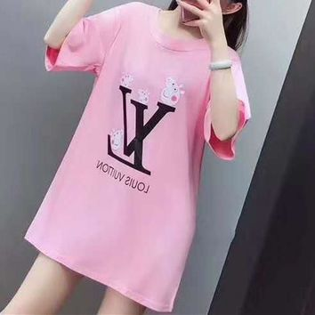 """LOUIS VUITTON""Women's Leisure  Fashion Letter Embroidery Printing Open Back Loose Large Size Short Sleeve Tops"