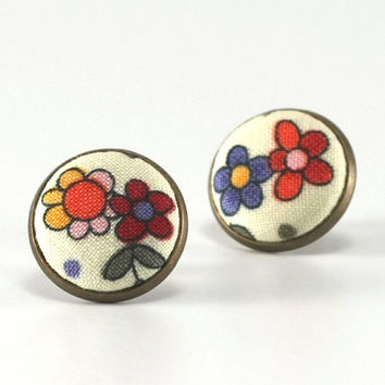Stud Earrings - Flowers For Girls - Pink Orange Red Green Flowers Studs - Lovely Shabby Chic Fabric Buttons Jewelry - Antique Posts