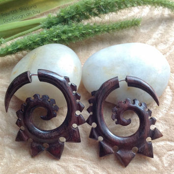 "Fake Gauge Earrings, ""Spiked Spirals"" Natural, Wood, Handcrafted, Tribal"
