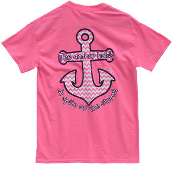 Bjaxx Anchor Holds Chevron Anchor Pink Christian Girlie Bright T Shirt