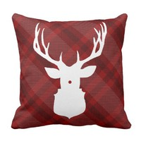 RUSTIC PLAID DEER | STYLISH HOLIDAY PILLOW