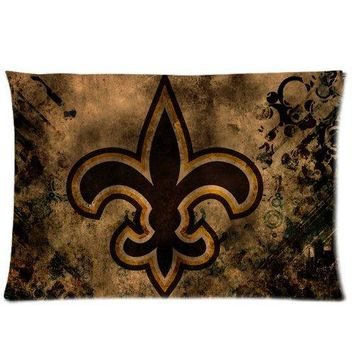 Custom New Orleans Saints Zippered Rectangle Pillowcase Pillow Cover Pillow Cases 20x30 (One side )