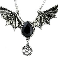 Black Swarovski Stone Bat Wing Necklace Vampire Pendant